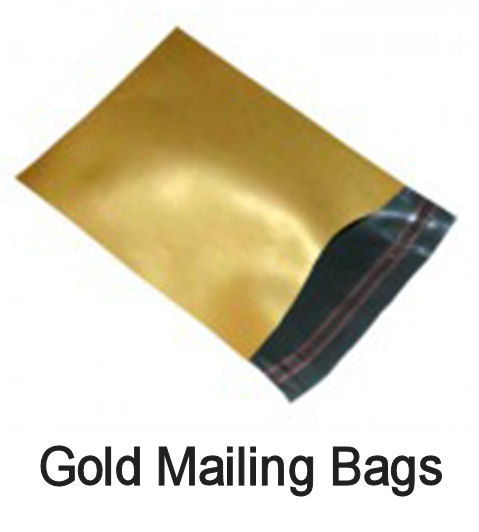 "QTY 100 - 10"" x 14"" GOLD Co-Ex Mailing Postal Bags (250x350mm)"