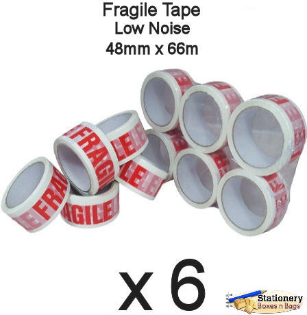 QTY 6 Rolls - Printed FRAGILE
