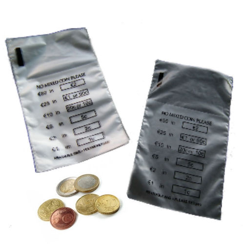QTY 50 EURO Coin Money Bank Bags (No Mixed Coins) New Re-Usable