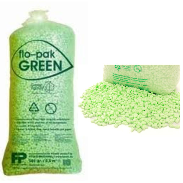 Flo Pak Green Polystyrene Packing Peanuts Void Fill - 1 cu ft