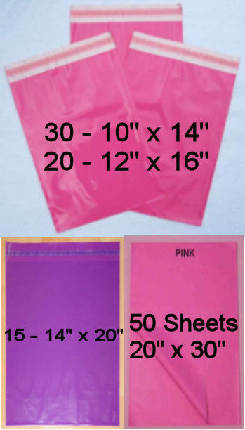 65 Mixed Size Mail Bags - PINK & PURPLE & 50 Tissue Paper