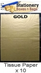 QTY 10 Sheets GOLD Tissue Paper 18