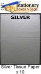 QTY 10 Sheets SILVER Tissue Paper 18