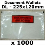 QTY 1000 - DL (225x120mm) Printed Document Address Wallets Label