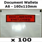 QTY 100 - A6 (160x110mm) Printed Document Address Wallets Labels