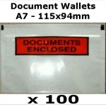 QTY 100 - A7 (115x94mm) Printed Document Address Wallets Labels