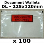 QTY 100 - DL (225x120mm) Printed Document Address Wallets Labels