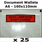 QTY 25 - A6 (160x110mm) Printed Document Address Wallets Labels