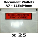 QTY 25 - A7 (115x94mm) Printed Document Address Wallets Labels