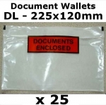 QTY 25 - DL (225x120mm) Printed Document Address Wallets Labels