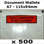 QTY 500 - A7 (115x94mm) Printed Document Address Wallets Labels
