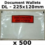 QTY 500 - DL (225x120mm) Printed Document Address Wallets Labels