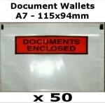 QTY 50 - A7 (115x94mm) Printed Document Address Wallets Labels