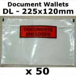 QTY 50 - DL (225x120mm) Printed Document Address Wallets Labels