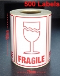QTY 500 Labels - FRAGILE / GLASS (Large)
