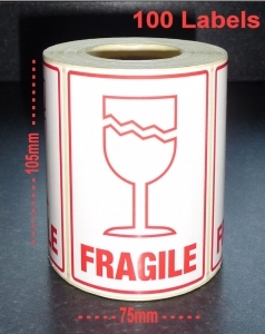 QTY 100 Labels - FRAGILE / GLASS (Large)
