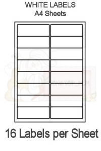 16 Labels per sheet - x 50 Sheets