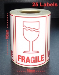 QTY 25 Labels - FRAGILE / GLASS (Large)